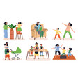 set six scenes showing mums with their children vector image vector image