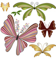 Set striped butterflies vector image