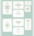set wedding invitations cards flourishes ornaments vector image vector image