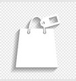 shopping bag sign with tag white icon vector image vector image