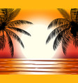 silhouette of palm tree on beach vector image vector image