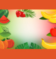 summer fruits and leaves horizontal background vector image