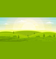 sunny rural landscape with hills and fields at vector image