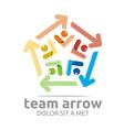 team arrow pentagon colorful symbol vector image vector image