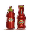 tomato ketchup bottles vector image vector image