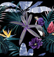 tropical night vintage wild birds pattern vector image vector image