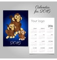 Two-sided calendar with symbol of the year monkeys vector image vector image