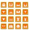 underwear types icons set orange square vector image vector image