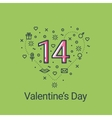 Valentines day green heart and 14 date vector image vector image