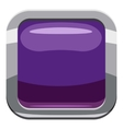 Violet square button icon cartoon style vector image