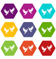 wedding doves icon set color hexahedron vector image