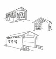 wooden bridge line line drawing bridge vector image