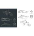 yacht blueprints vector image vector image