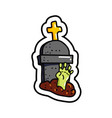 zombie arm in grave sticker vector image