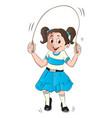 girl skipping vector image