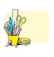 holder with stationery set in frame vector image