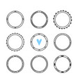 set of 9 hand drawn frames cute circle wreaths vector image