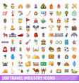 100 travel industry icons set cartoon style vector image vector image