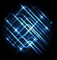 Abstract neon blue background with lines vector image vector image