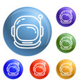 astronaut helmet icons set vector image