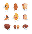 bread characters cartoon cute characters of vector image vector image