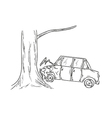 car accident sketch vector image