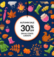 cartoon autumn elements and leaves sale vector image vector image