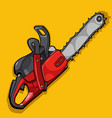 cartoon curve of a chainsaw on a yellow background vector image