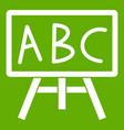 chalkboard with the leters abc icon green vector image vector image