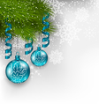 christmas background with hanging glass balls