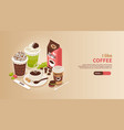 coffee isometric horizontal banner vector image