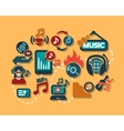 color flat music icons set vector image vector image