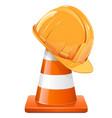 construction cone with helmet vector image vector image