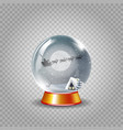 crystal snow globe of winter night landscape with vector image vector image