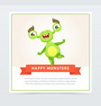 cute happy funny green monster jumping on one leg vector image vector image