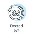 decred cryptocurrency coin line icon of virtual vector image