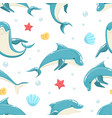 dolphin seamless pattern marine sea creature vector image vector image