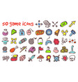 doodle game icons set vector image vector image