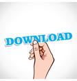 download label in hand vector image vector image