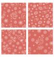 folk red set holiday seamless pattern set vector image vector image