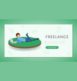 freelance flat landing page template vector image vector image