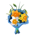 gift bouquet flowers in blue package vector image vector image