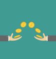 giving and taking hands flying golden coin money vector image vector image