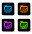 glowing neon ftp folder upload icon on white vector image vector image