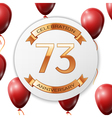 Golden number seventy three years anniversary vector image vector image