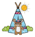 grated ethnic bear with camp and bushes plants vector image