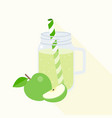 green apple smoothie in mason jar vector image vector image