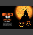 halloween background with castle and pumpkins vector image