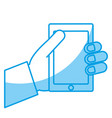 hand holding a smartphone icon vector image vector image
