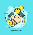 handshake and dollar coins business partnership vector image